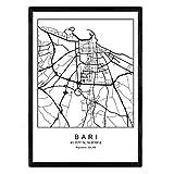 Nacnic Drucken Stadtplan Bari nordischen Stil schwarz und