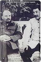 ティンサイン20 x 30 cmジョセフ・スターリン&ウラジミール・レーニンロシアティンレトロティンサイン20x30 1728