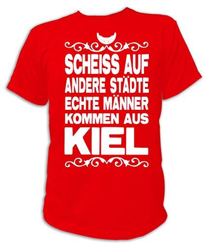 Artdiktat Herren T-Shirt Scheiß auf andere Städte - Echte Männer kommen aus Kiel Größe XXXL, rot