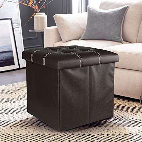 Louis Donne Folding Ottoman with Storage Button Footstool Cube Seating Faux Leather 15'x 15'x15' Brown