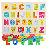 Syfinee Wooden Shapes Puzzle Pattern Blocks Educational Toys Pattern Blocks Animals Jigsaw Puzzle Sorting and Stacking Games for Toddlers Babies Kids Age 3+Years Old