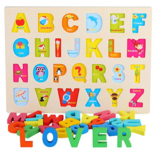 AiTuiTui Wooden Alphabet Board, 26 Pieces Colorful ABC Letters with Cute Illustration Early Learning Puzzle Blocks Preschool Toys for Children 3 4 5 6-Letras mayúsculas