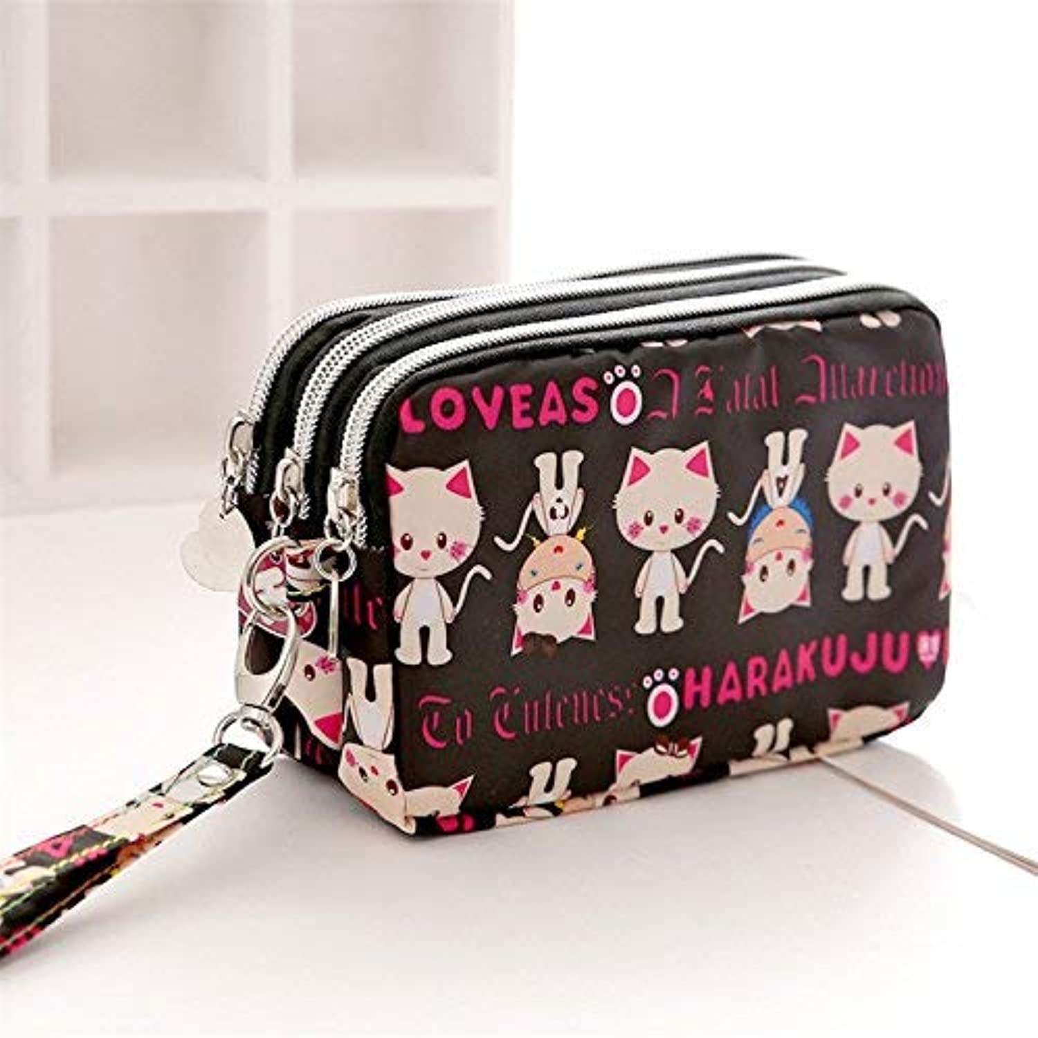 Girls Purse Small Bag Satchel Bag Mobile Phone Bag Three Zipper Large Capacity Zero Wallet Mini Mobile Phone Bag (color   Black cat)