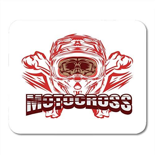 Mousepads, collectie wit, fietshelm, zwart, motorcross, Skull Rider Design, blauw met cartoon-patroon, muismat