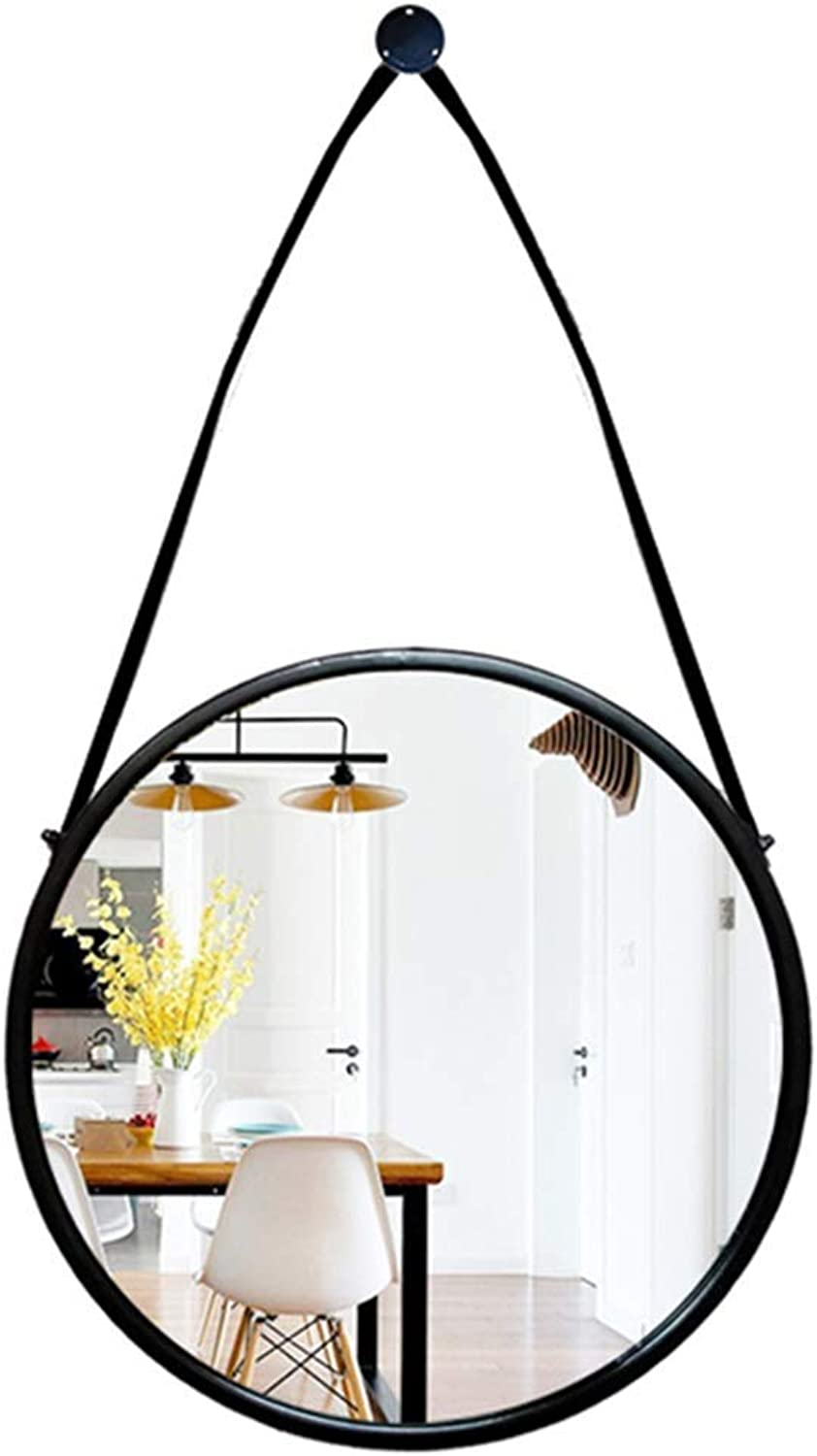 Hanging Mirror - Bathroom Wall Mirror - Bathroom Makeup Mirror Modern European Style Iron Frame with Hanging Chain Black