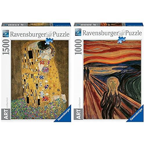 Ravensburger 16290 Puzzle Klimt: Il Bacio, 1500 Pezzi & Puzzle 1000 Pezzi, Arte, Collezione Dipinti, Quadri D'Autore, Pittori Famosi, L'Urlo, Munch