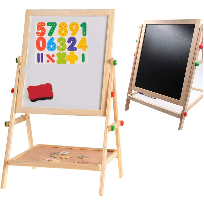 Hema Cultureホワイトボード 子ども身長より高さ調節できるキッズお絵かきイーゼルで磁気ボードにかける磁気数字やアルファベットやペンや黒板消しも付属、子供へのプレゼントに活躍してる知育学習玩具 落書き両面ボード