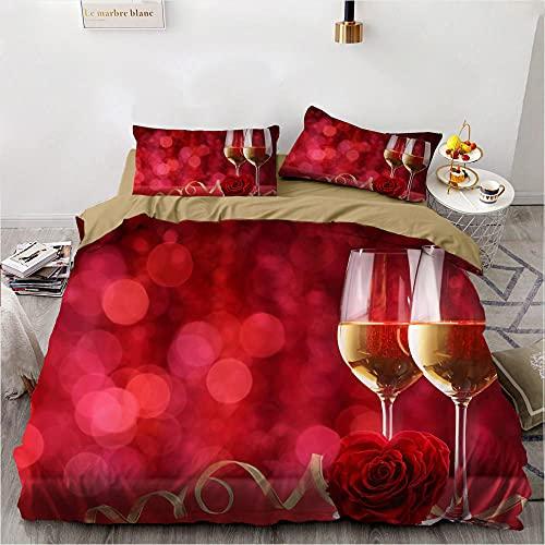 Rojo Rosa Copa De Vino Juego De Cama Lujo ChampáN 3D Impreso Funda Nordica Juego PoliéSter Pareja Amantes Moda Hogar Suave Textil Dormitorio, 135x200cm, 3 Piezas (1 Funda NóRdica 2 Funda Almohada)