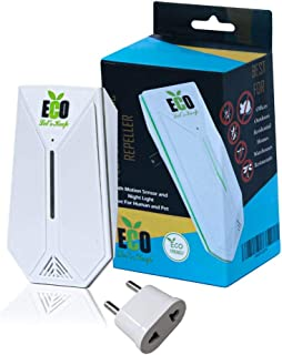 Eco Ultrasonic Pest Repeller Plug in 2019 Upgraded with European Plug Adapter for Insects, Mice, Ant, Mosquito, Spider, Rodent ,Roach and more.