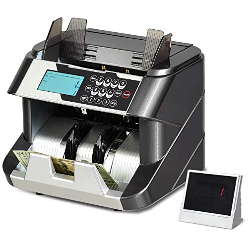 GOPLUS Banknotenzähler mit Echtheitsprüfung, 220-240V 90W, Geldzähler mit UV,MG,IR,DD- System, Geldzählmaschine mit LED- Display, für Euroscheine, mit Update-Funktion, mit Wertzählung