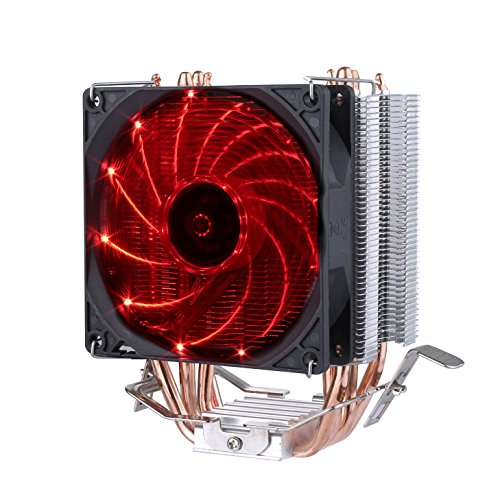 upHere CPU Cooler 4 Heatpipes Ventilateurs de Processeur 92 mm Ultra Silencieux Rouge C92R