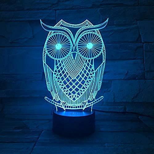 Owl Table Lamp Bedroom 3D Illusion Decorative Lamp Bird Lamp Child Kids Gift Baby Nightlight Nighthawk Night Light Led