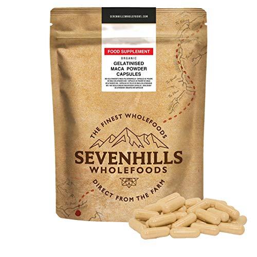 Sevenhills Wholefoods Maca-Pulver Gelatiniert Bio Kapseln 500mg x 180