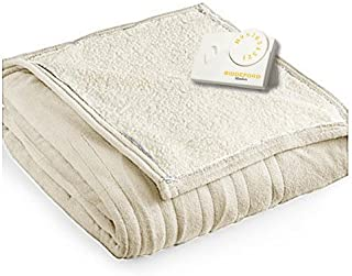 Pure Warmth Microplush Sherpa Heated Electric Blanket Full Linen