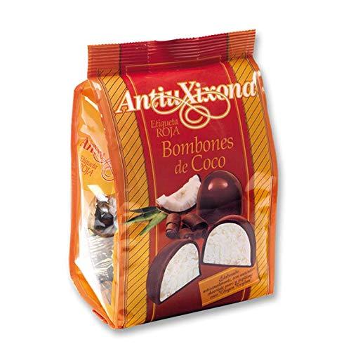 Bombones de coco Antiu Xixona 【 ETIQUETA ROJA 】 140 g - Deliciosas Bolas de chocolate rellenas de COCO