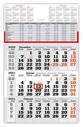 Gefaltet Versand als Großbrief bei Einzelstück - 3 Monats Wandkalender 2021 mit Datumschieber in Rot, inkl. Ferienübersichten und Jahresüberblick 2021 und 2022, Dreimonatskalender werbefrei, 3 Monatskalender keine Werbung