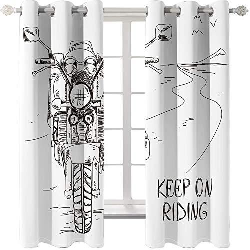 AmDxD 2 paneles de tela de poliéster, cortinas para dormitorio para mantener en montar en motocicleta, cortinas lavables a máquina, color negro y blanco, 108 pulgadas de ancho x 45 pulgadas de largo