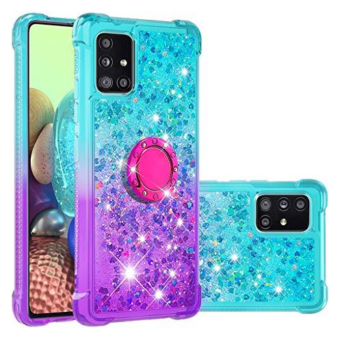 Funda Galaxy A71 5G, Niñas Mujeres Glitter Arenas Liquida Cristal Funda, TPU Bumper con Anillo Soporte Carcasa para Samsung Galaxy A71 5G (Cielo Azul & Púrpura Gradiente)