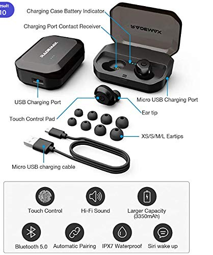 [Upgrade] True Wireless Earbuds,Bluetooth Earphones Bluetooth 5.0 Earbuds IPX7 Waterproof Headphones Auto Pairing in-Ear Stereo 90H Cycle Play Time Wireless Headset with 3350mAh Charging Case 7