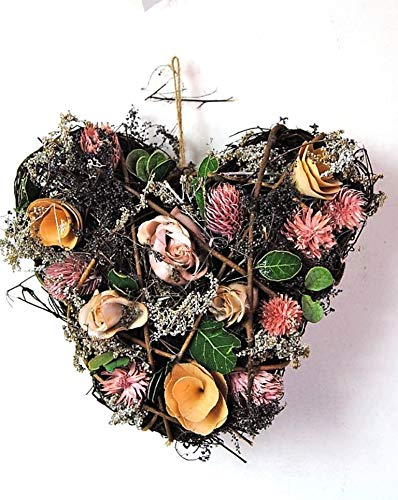 Four Seasons- Floral Heart with Rustic Dried artificial Cream and Pink Wildflowers Double sided
