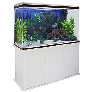 Monster Shop Fish Tank Aquarium Large Marine Tropical Salt Water & Complete Starter Kit, Filter, Air Pump, Heater Plants Ornaments Accessories/White Cabinet, White Gravel 4ft 300L