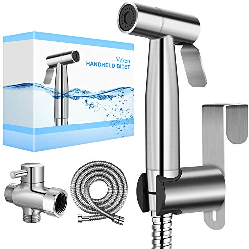Veken Handheld Bidet Sprayer for Toilet, 2 Water Pressure Option, Spray Attachment with Hose for Feminine Wash, Baby Diaper Cloth Washer Stainless Steel Cleaner and Shower Sprayer for Pet