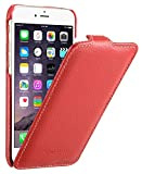Edle Tasche für Apple iPhone 6S & 6 (4.7 Zoll) / Case Außenseite aus beschichtetem Leder / Cover Innenseite aus Textil / Schutz-Hülle aufklappbar / ultra-slim / Flip-Case / Farbe: Rot