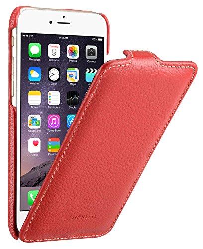 MELCKO Tasche passend für Apple iPhone 6S & 6 (4.7 Zoll), Hülle Außenseite aus beschichtetem Leder, Schutz-Hülle klappbar, Flip-Hülle, Ultra-Slim Cover, Etui, Rot