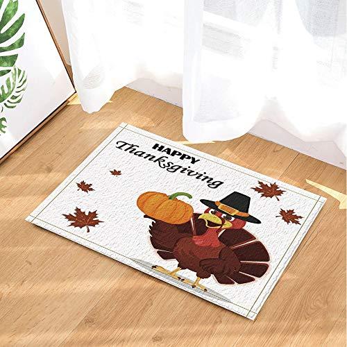 ZZZdz Decoración para el Día de Acción de Gracias, Turquía Pavo con un Sombrero de peregrino y sosteniendo alfombras de baño de Calabaza, alfombras de Felpudo Antideslizantes