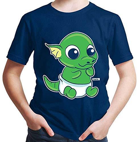 Hariz - Camiseta para niño con diseño de dragón y pitufo de huevo, incluye tarjeta de regalo azul marino 164 cm