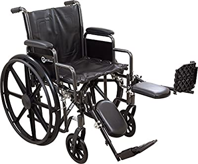 ProBasics Comfort Standard Wheelchair - Height Adjustable Seat - Flip Back Desk Arms - 300 Pound Weight Wapacity - Black - Multiple Size and Footrest Options Available