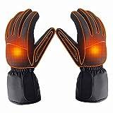 Gants chauffants rechargeables pour hommes - Alimentés par batterie - Étanches - Conviennent pour le camping, la randonnée, la chasse L noir