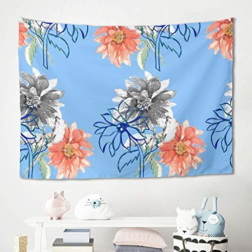 N\A Art Flowers Tapiz Azul Colgante de Pared Ropa de Cama Tapices Manta Esteras de Picnic Mantel Sofá Fondo para el hogar Dormitorio College Dorm Decoración Blanco