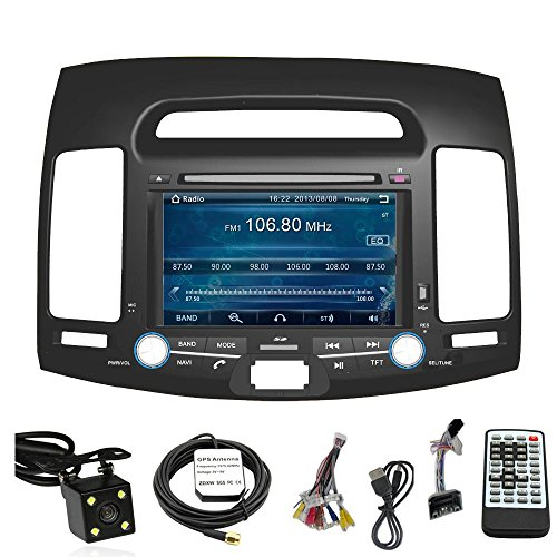 Car Stereo DVD Player for HYUNDAI ELANTRA 2007 2008 2009 2010 Double Din 7 Inch Touch Screen TFT LCD Monitor In-dash DVD Video Receiver Car GPS Navigation System with Built-In Bluetooth TV Radio, Support Factory Steering Wheel Control, RDS SD/USB iPod AV BT AUX IN+ Free Rear View Camera + Free GPS Map of USA
