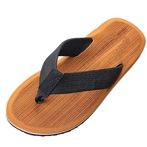 Vertvie Herren Sommer Schuhe Strand Sandalen Indoor Outdoor Slipper Zehentrenner Pantoletten Flip Flop, Gelb, 45 EU