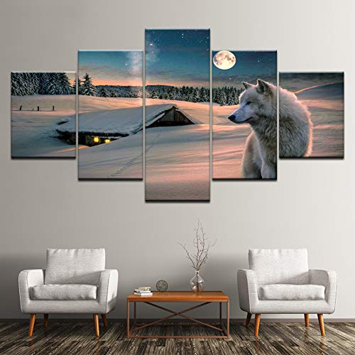 GHTAWXJ Pintura sobre Lienzo White Wolf on The Snow at Night 5 Piezas Wall Art Painting Wallpapers Poster Print Home Decor