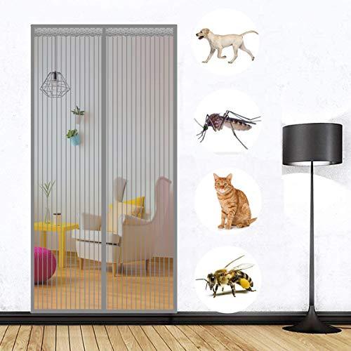 Magnet Fliegengitter Tür Terrassentür Insektenschutz Grau 215x240cm, Klettband Selbstklebend Extra Stark Volle GrößE Automatisches, für Flure/Türen
