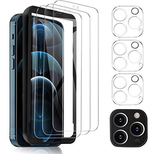 MSOVA Schutzfolie Kompatibel mit iPhone 12 Pro Schutzfolie/Kamera Schutzfolie, 3 Stück 9H Hartglas Bildschirmfolie Blasenfrei. Klar