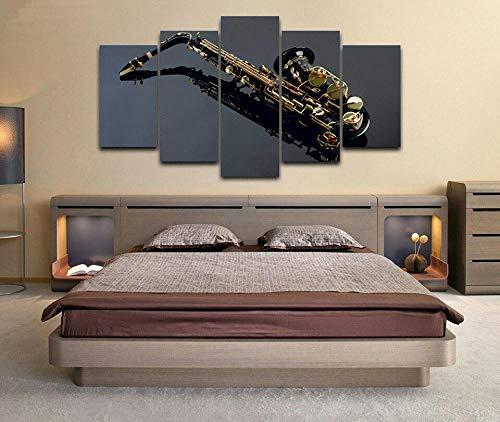 5 Papel pintado Instrumento Musical De Saxofón Moderno Impresión de 5 Piezas Impresión Artística Imagen Gráfica Decoracion de Pared