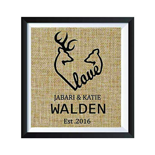 Boston Creative Company Browning Deer Heart Sign Wedding Gift Housewarming Gift Buck Art Doe Hunter Camo Decor Personalized Deer Hunting Deer Wall Art Burlap Print Custom #B_Print_46
