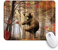 NINEHASA 可愛いマウスパッド 秋の森の木々と紅葉をクマ ノンスリップゴムバッキングコンピューターマウスパッドノートブックマウスマット