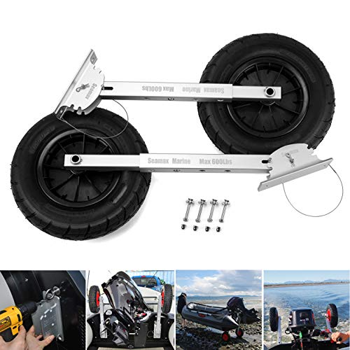 """Seamax Deluxe 4 by 4 Boat Launching Dolly with 14"""" Wheels System, Commercial Grade Quality for Inflatable and All Aluminum Boat, Max Loading 600 Lbs"""