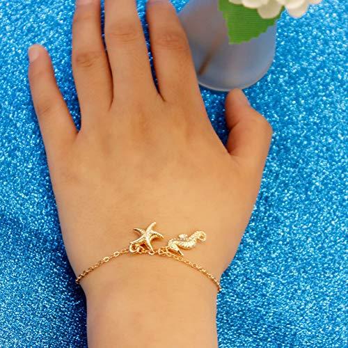 N/ A Exquisite Legierung Seestern Seepferdchen Kombination Armband Sommermode Elegante Damen Party Geburtstagsgeschenk Zubehör