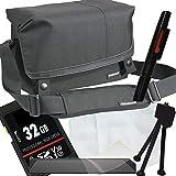 1A Photo PORST - Juego de funda para cámara Canon EOS M200 (incluye protector de pantalla, tarjeta SD de 32 GB, paño de microfibra, lápiz de limpieza y mini trípode), color negro