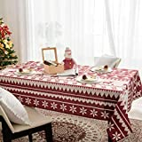 Hosonson Christmas Rectangle Table Cloth 60x120 inch - Waterproof Holiday Decoration Tablecloth - Reusable Wipable Fabric Table Linen Cover for Kitchen,  Indoor and Outdoor