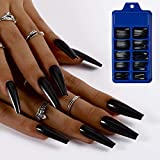 Blufly 100PC Glossy Extra Long Press on Nails Solid Square Coffin Fake Nails...