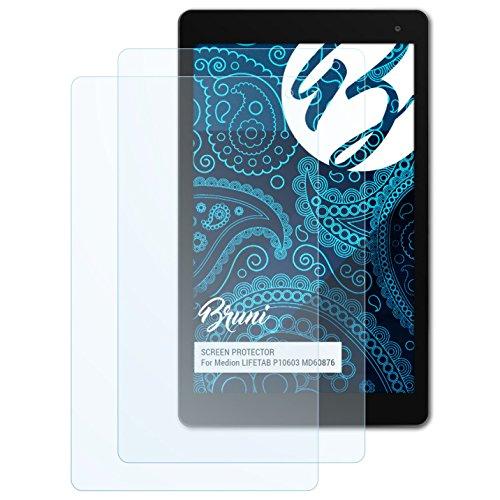 Bruni Schutzfolie kompatibel mit Medion LIFETAB P10603 MD60876 Folie, glasklare Bildschirmschutzfolie (2X)