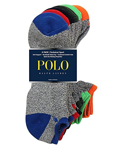 Polo Ralph Lauren 6-Pack Technical Sport Ped Socks (One Size, Grey Multi)