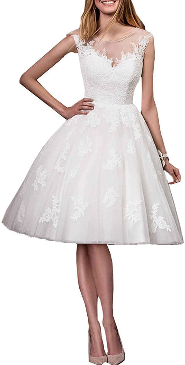 JQLD Womens Lace Beach Wedding Dress Knee Length Cap Sleeves Bride A Line Gowns