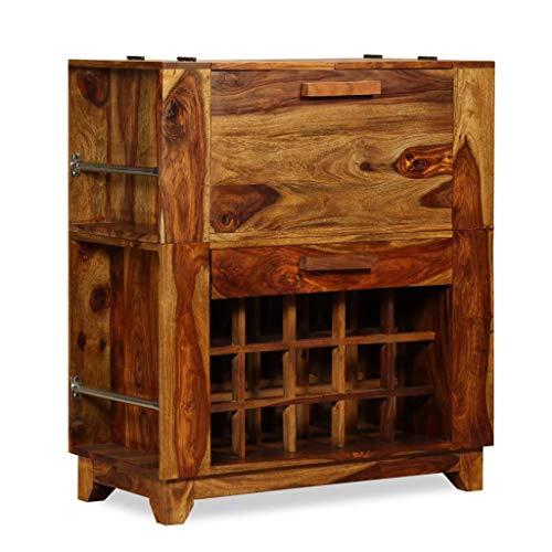 vidaXL Sheesham Holz Massiv Barschrank für 15 Flaschen Barkommode Weinschrank Weinregal Weinständer Flaschenregal Palisander 85x40x95cm
